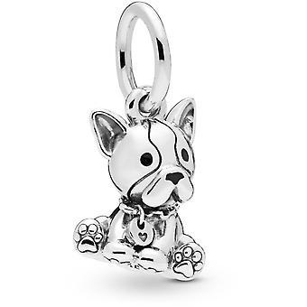 Charms Pandora eläimet 798008EN16-aikana pentu Bulldog hopea