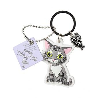 Wags & Whiskers Silver Tabby Cat Keyring