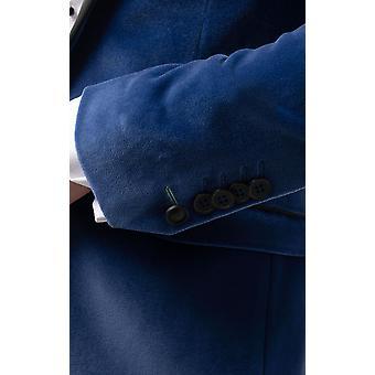 Twisted Tailor Mężczyźni Bright Blue Smoking Kurtka obiadowa Skinny Fit Velvet Contrast Szal Lapel