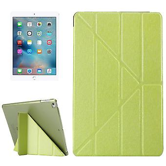 For iPad 2018,2017 Case,Elegant Silk Textured 3-folding Leather Cover,Green
