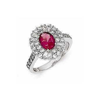 Cheryl M 925 Sterling Silver Cubic Zirconia and Simulated Ruby Ring Jewelry Gifts for Women - Ring Size: 6 to 8