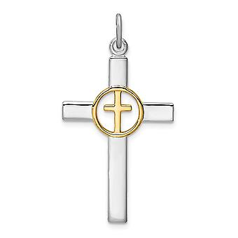 925 Sterling Silver Rhodium plated and Gold Tone Religious Faith Cross Pendant Necklace Jewelry Gifts for Women