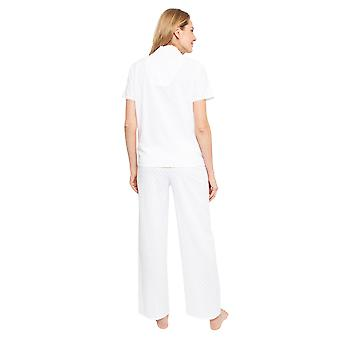 Cyberjammies 1362 Frauen's Nora Rose Ellen weiß Jacquard Druck Baumwolle gewebt Pyjama Set