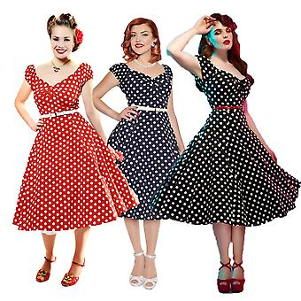 Collectif Vintage Kobiety's Navy Polka Dot Dolores Doll Dress