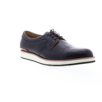 Zanzara Blaze  Mens Black Leather Casual Lace Up Oxfords Shoes