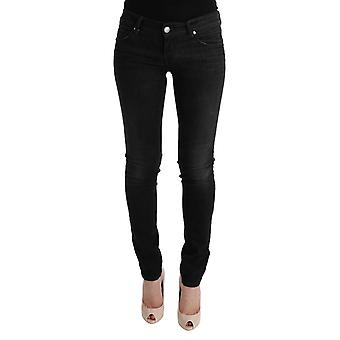 Acht Black Denim Cotton Bottoms Slim Fit Jeans