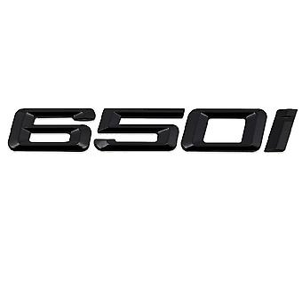 Gloss Black BMW 650i Car Model Rear Boot Number Letter Sticker Decal Badge Emblem For 6 Series E63. E64 F06 F12 F13 G32