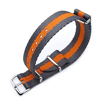 Strapcode n.a.t.o watch strap miltat 20mm g10 military nato watch strap, sandwich nylon armband, polished - grey & orange stripes