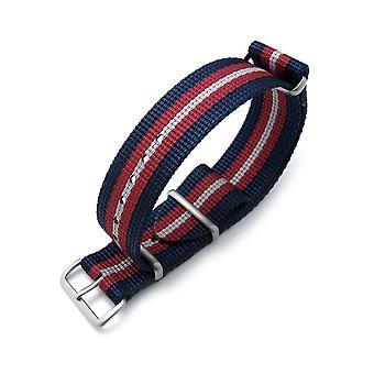 Strapcode n.a.t.o katsella hihna miltat 20mm, 21mm tai 22mm g10 nato bullet tail katsella hihna, ballistinen nylon, harjattu - sininen, punainen ja harmaa raidat