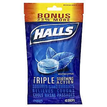 Halls base cough drop lozenges, mentho-lyptus, 40 ea