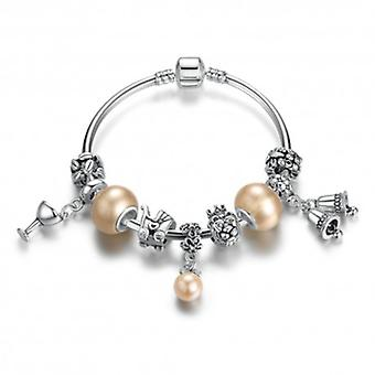 Silver Plated Bangle Bracelet With Charms - 5790