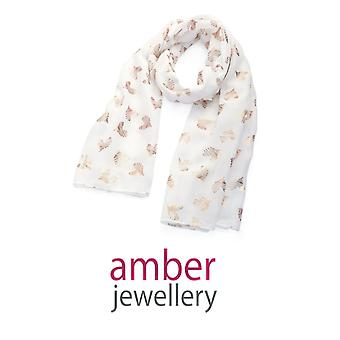 Amber Jewellery White & Gold Heart Motif Scarf (SC33054)
