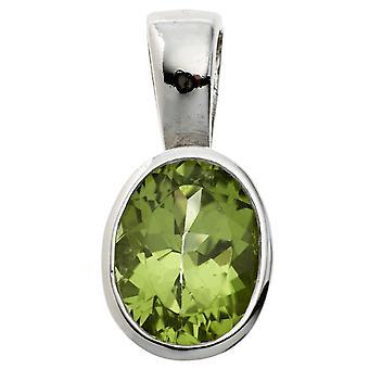 قلادة المرأة البيضاوي 925 الاسترليني الفضة الروديوم مطلي 1 الأخضر peridot