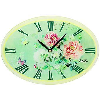 AMS 9479 wall kellon kvartsi analoginen soikea vihreä vintage antiikki retro roses perhosia