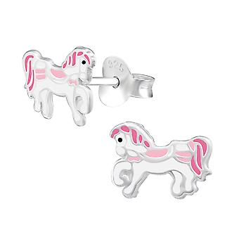 Pony - 925 Sterling Silver Colourful Ear Studs - W34624x