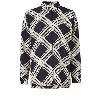 Masai Clothing Ibily Navy Patterned Blouse