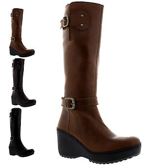 Womens Fly London Mlea Rug Leather Winter Warm Knee High Wedge Heel Boot