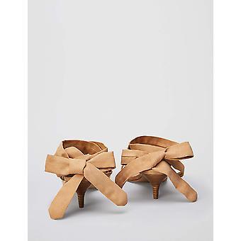 Brand - find. Women's Tie Up Sandal With Kitten Heel, Beige, US 10.5