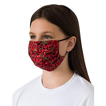 Mio WNS1 Candied Cherries Red and Navy Cotton Face Mask with Removable Nose Wire