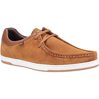 Basis Londen Mens Dougie Suede Lace Up Schoen Tan