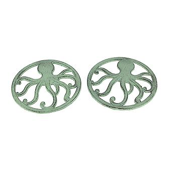 Distressed Aquamarine Coastal Cast Iron Octopus Sea Foam Green Trivet Set of 2