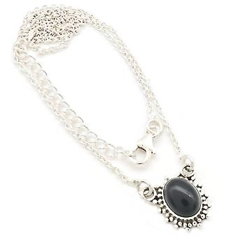 Onyx Necklace 925 Silver Sterling Silver Necklace Black (MCO 12-03)