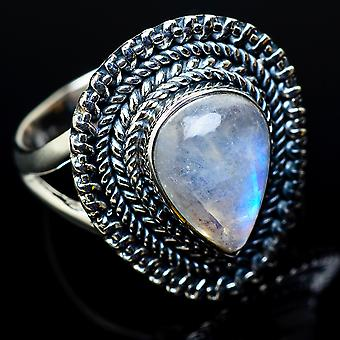Rainbow Moonstone Ring Size 7.5 (925 Sterling Silver)  - Handmade Boho Vintage Jewelry RING11439
