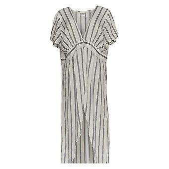 K Jordan Women's Plus Top Striped Flyaway Striped Black / White
