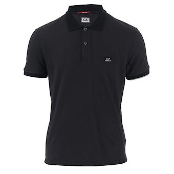 Men's C.P. Company Garment Dyed Polo Shirt in Black
