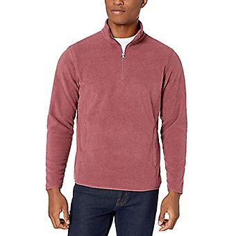 Essentials Men's Standard Quarter-Zip Polar Fleece Jacket, Burgundy He...