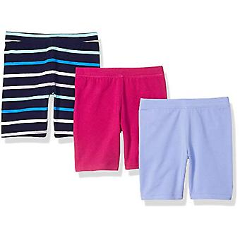 Essentials   Girls' 3-Pack Cart-Wheel Short, Stripe/Purple/Fuchsia S