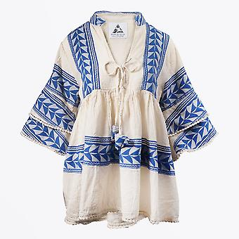 Pearl & Caviar  - Embroidered Aztec Blouse - Blue