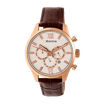 Heritor Automatic Benedict Leather-Band Watch w/ Day/Date - Rose Gold/Silver