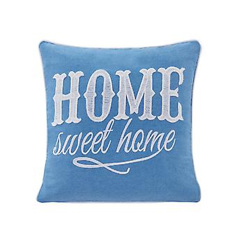 Blue Home Sweet Home Cotton Embroidered Decorative Toss Throw Accent Pillow By Danya B.