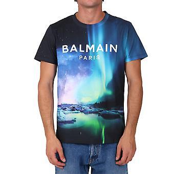 Balmain Uh11601i316aaa Hombres's Camiseta de Algodón Negro