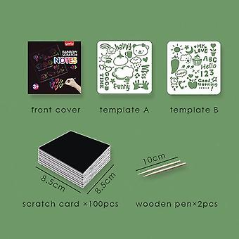 Rainbow Scratch Paper Card Set with Graffiti Stencil for Drawing Pen Magic Color Scratch Notes