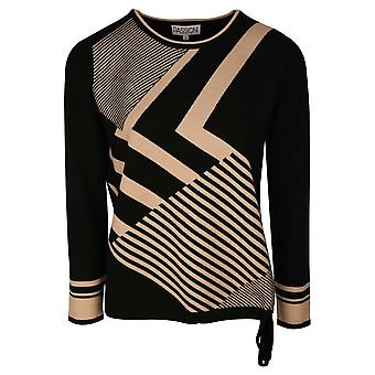 Passioni Black & Beige Long Sleeve Round Neck Knitted Jumper With A Bold Design