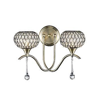 Inspirado Diyas - Chelsie - Lámpara de pared 2 latón antiguo ligero, vidrio transparente