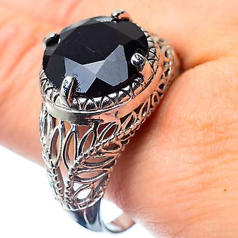 Large Black Onyx Ring Size 11.75 (925 Sterling Silver)  - Handmade Boho Vintage Jewelry RING26662