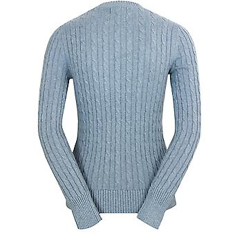 Superdry women's croyde cable crew blue jumper