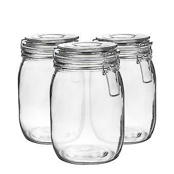 Argon Stoviglie in vetro con coperchio clip ermetico - 1 litro Set - Sigillo bianco - Pacchetto di 3