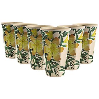 Nicola Spring 6 Piece Eco-Friendly Bamboo Drinking Cups Set - Natural Fibre Picnic Dinnerware Tumblers - 435ml - Tropical