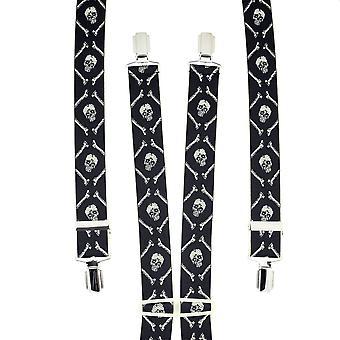 Ties Planet Nero & Teschio d'Avorio & Ossa Uomini's Trouser Braces