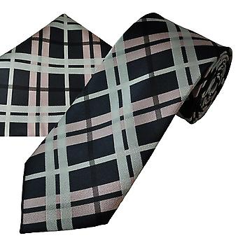 Ties Planet Navy, Black, Pink & Silver Checked Tie & Pocket Square Handkerchief Set