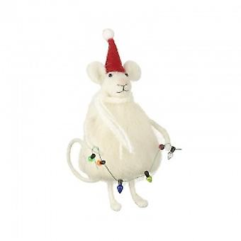 Wool Santa Mouse with Light Garland
