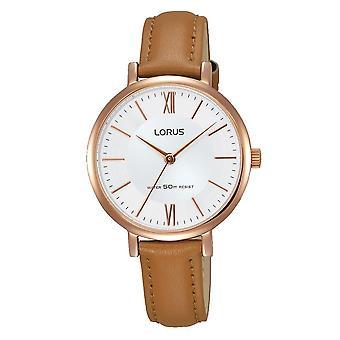 Lorus Damen elegante Kamel braun Leder Armband Uhr Rose gold vergoldet Fall