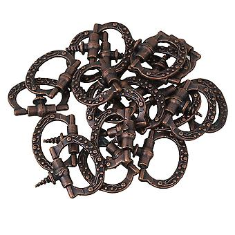 20PCS Red Bronze Zinc Alloy Antique Cabinet Drawer Ring Pull Handle