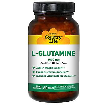 Country Life L-Glutamine with B-6 RR, 1000 mg, 60 Caps