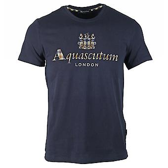 Aquascutum Signature Check Logo Navy T-Shirt