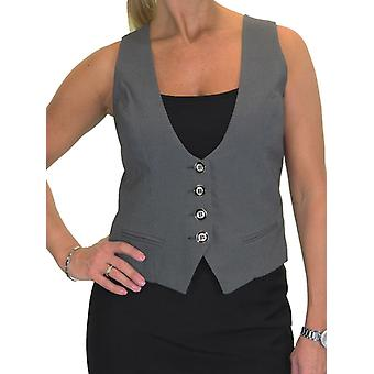 Ladies Fully Lined Business Waistcoat Button Down Washable Formal Office Day Work 10-22